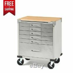 Rolling Cabinet 6-Drawer Kitchen Mobile Station Garage Tool Storage Hardwood Top