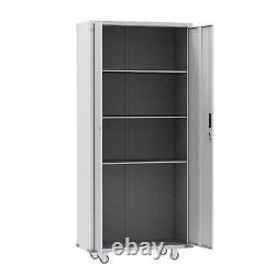 Rolling Metal Storage Cabinet 72 Tall with Locking Doors & Adjustable Shelves