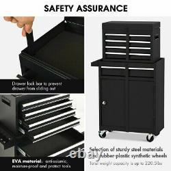 Rolling Tool Box Chest Storage Cabinet On Wheels Mechanic Garage Steel Black New