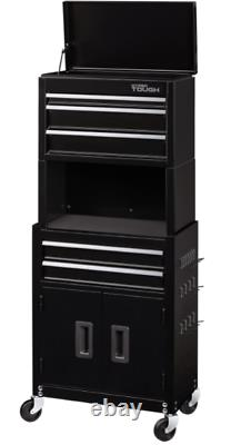 Rolling Tool Cabinet Storage Chest 5-Drawer 49 Tall with Riser Pegboard Black NEW