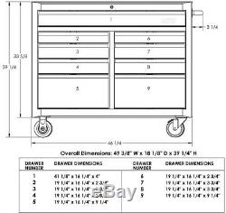 Rolling Tool Chest Cabinet 46 in. Workbench Locking 9-Drawer Welded Steel Black