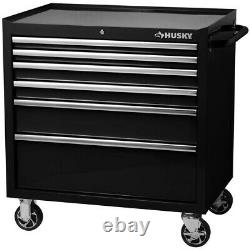 Rolling Tool Chest Cabinet Black Storage 6 Drawer X-Large Bottom Ball Bearing