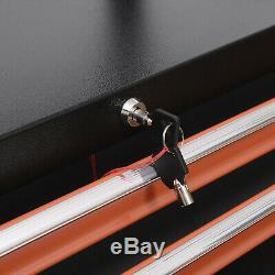 Rolling Tool Chest Storage Cabinet Organizer 7 Locking Drawer Store Black/Orange