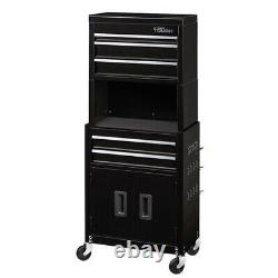 Rolling Tool Chest and Cabinet Combo With Riser 5-Drawer 20 Inch Black Peg Hooks