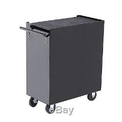 Rolling Toolbox 5 Drawers Lock Storage Tool Cabinet Chest Cart Casters Black
