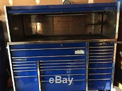 SNAP ON TOOLBOX 22 Drawer WITH ROLL TOP Krl1023pcm Blue GREAT CONDITION