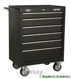 Sealey AP226B Roll Cab 6 Drawer Tool Box Chest Ball Bearing Runners Slides Black