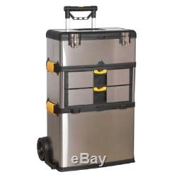 Sealey AP855 Rolling Mobile Stainless Steel Composite 3 Compartment Tool Box New
