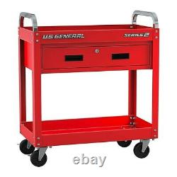 Service Tool Cart With Locking Storage Drawer Rolling Mobile Steel Tool Cart