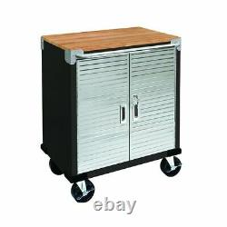 Seville Classics UltraHD 2-Door Rolling Cabinet, Satin Graphite