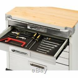 Seville Classics UltraHD Rolling 6-Drawer Tool Storage Cabinet Key Lock -Granite