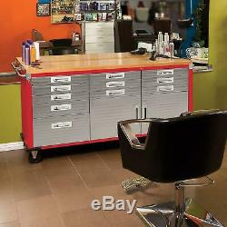 Seville Classics UltraHD Rolling Workbench Steel 12 Drawer Rolling Locking RED
