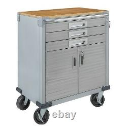Seville Classics Ultrahd 2-door Rolling Cabinet With 3 Drawers, Granite Gray