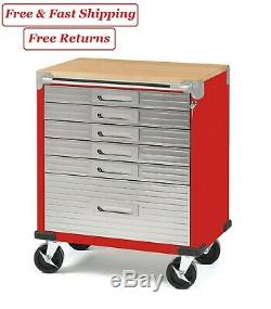 Seville Classics Ultrahd Rolling 6-drawer Tool Storage Cabinet With Key Lock Red
