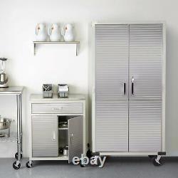 Seville Garage Metal Rolling Storage Cabinet Shelving Stainless Steel Doors