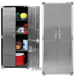 Seville Garage Metal Rolling Storage Cabinet Shelving Stainless Steel Doors, NEW
