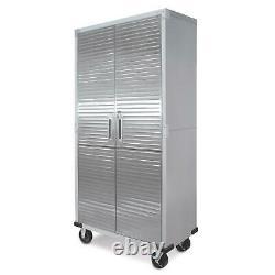 Seville Garage Metal Rolling Tall Storage Cabinet Shelving Stainless Steel Doors