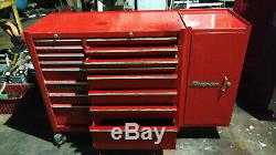 Snap-On 16 Drawer Tool Box Roll Cab Red With end add on box