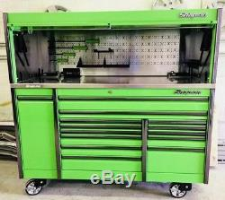 Snap On 76 Epiq Tool Box Roll Cab Withmatching Hutch Extreme Green Power Top