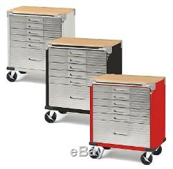 Stainless Steel 6 Drawer Rolling Locking Tool Chest Box Cabinet Wood Top Toolbox