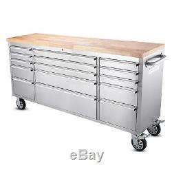 Stainless Steel Rolling Tool Chest Cabinet 72Tool Storage Box Work Station P8W0