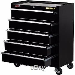 Stanley 5-Drawer Bla Rolling Cabinet Tool Storage Organizer Chest Metal Lock Box