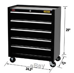 Stanley Rolling Tool Cabinet Metal Utility Chest 5 Drawers Box Storage Organizer