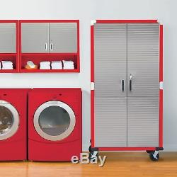 Storage Cabinet Stainless Steel Heavy Duty Metal Rolling Garage Tool Shed Red