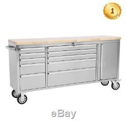 THOR 72 Stainless Steel Rolling Tool Chest Box with 10 Drawers & 1 Cabinet G0H9