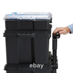 TOOL BOX STORAGE ORGANIZER Stack System Mobile Toolbox Rolling Wheels Job Site