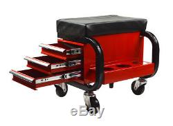 Three Drawer Work Seat Chair Bench Toolbox Rolling Bin Storage Organizer Cart