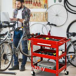 Three Tray Rolling Tool Cart Mechanic Cabinet Storage Organizer withDrawer Red