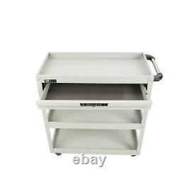 Three Tray Rolling Tool Cart Storage Organizer Mechanic Cabinet Tool Box Storage