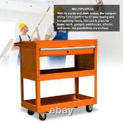 Three Tray Rolling Tool Cart Storage Organizer With Drawer Metal Tool Box Orange