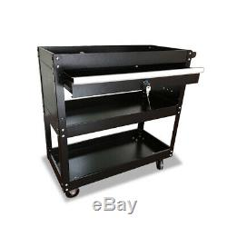 Three Trays Rolling Tool Cart with Wheels & Drawer Tool Storage Box Organizer