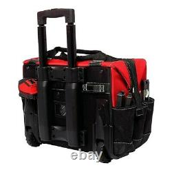 Tool Bag With Wheels Box Portable Rolling Tote Mechanics Sheetrock Heavy Duty 18