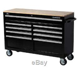 Tool Box Rolling Chest Husky 52 In Heavy Duty Storage Cabinet Wood Top 9 Drawer