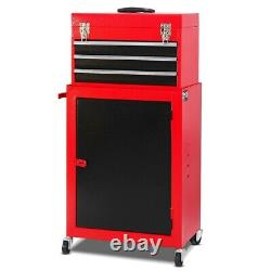 Tool Box With Wheels Cart On Metal Roll Around Mini Rolling Chest Men Storage R