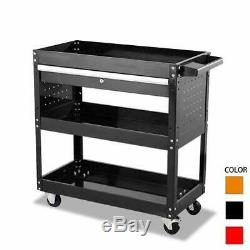 Tool Cart On Wheels with Lock Drawers, 3-tier Metal Rolling Utility Cart