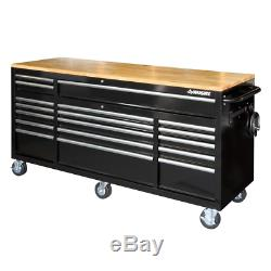 Tool Chest Work Bench Cabinet Adjustable Wood Top 72 in Rolling Garage Storage