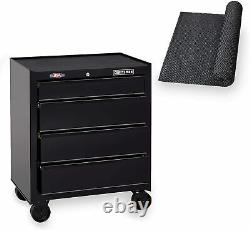 Tool Chest with Drawer Liner Roll, 26-Inch, 4 Drawer, Black 26 Cabinet