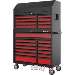 Toolbox Stack 21 Drawers Roll Cab & Top Box Heavy Duty with Charging Option Red