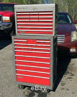 Vintage 1976 Craftsman Rolling Tool Chest Cabinet withTop Box 24 Drawer 26.5x57.5