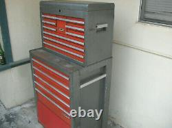 Vintage Craftsman Red and Gray Rolling Tool Box Top And Bottom 15 Drawers -65282