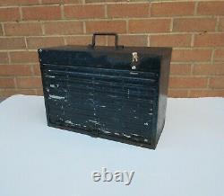Vintage robust used roll top metal 4 drawer garage tool box chest 11kg