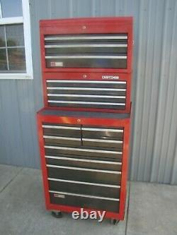 Vtg 1982 Craftsman 3 Piece TOOL CHEST TOP BOX, MIDDLE BOX, AND ROLL CABINET